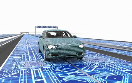Zelf rijden elektronische computer auto op de weg, 3d illustratie Stockfoto