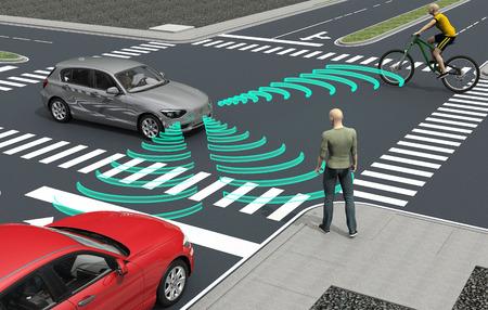 Auto conduciendo automóviles electrónicos de la computadora en la carretera, ilustración 3d