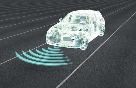 Zelf rijden elektronische computer auto's op de weg, 3d illustratie