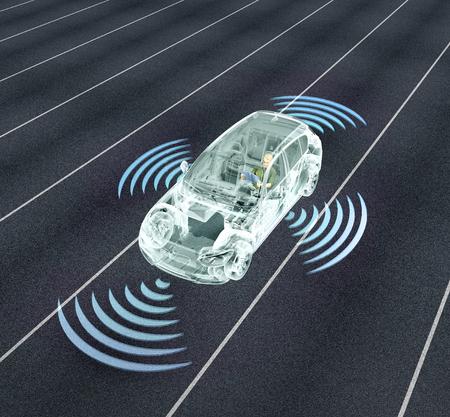 Auto-dirigindo carros de computador eletrônico na estrada, ilustração 3d Foto de archivo - 73015846