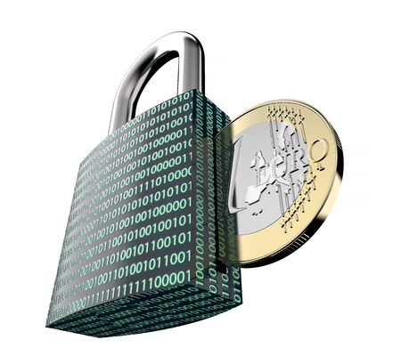 malware: malware or ransomware attack concept padlock with money, clipping path, 3d illustration