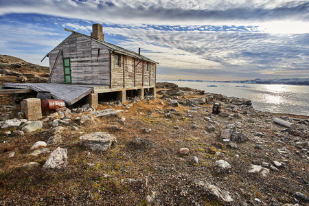 old house in greenland fjord. Stock Photo