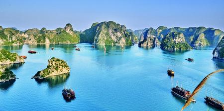 beautiful green limestone mountains in halon bay vietnam asia.