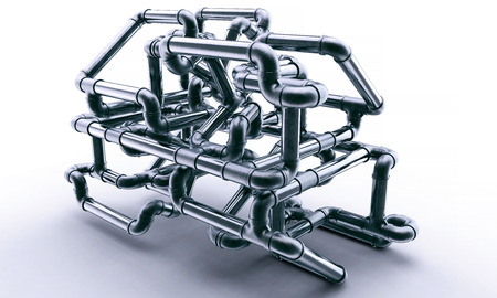 lot of metal pipes are forming a maze. 3d illustration