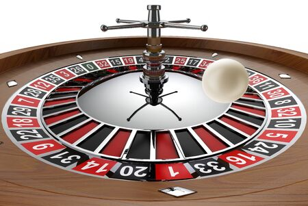 spinning casino wheel with white ball in mid air.