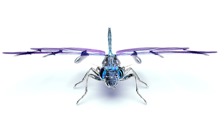 digital war concept electronic computer dragonfly isolated, 3D illustration