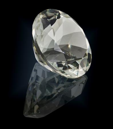prasioliet quartz gem stone isolated on black background.