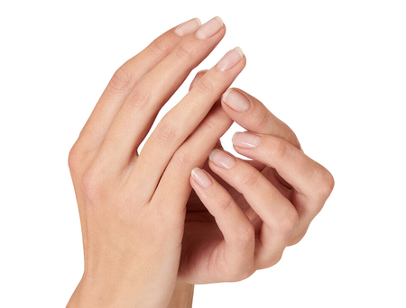 female hands with space for a ring isolated on white.