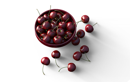 red cherry in bowl isolated on white. 3d illustration