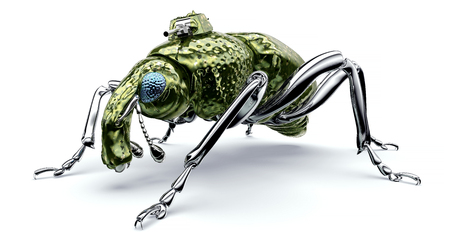 digital war concept electronic computer bug isolated, 3D illustration