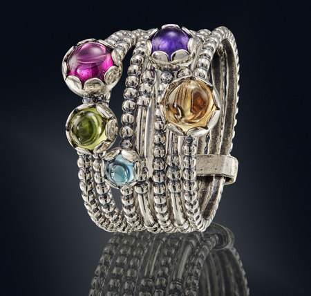 Golden ring with gemstone isolated on black background. with clipping path Imagens