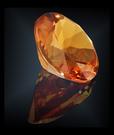 citrine gem stone isolated on black background.