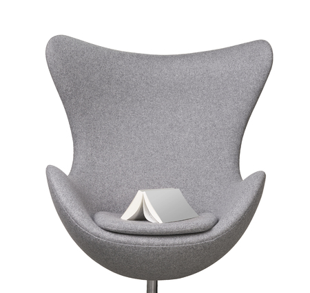 blank book on gray modern chair isolated
