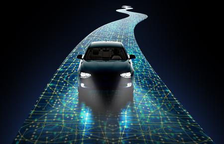 concept of a self-driving modern car ,  3d illustration