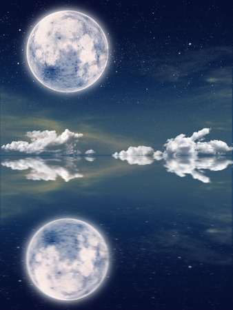 skyscape and refection with starry night and a full moon.