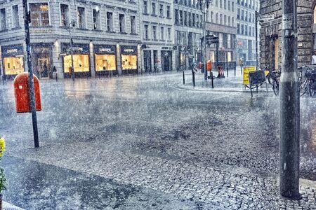 Berlin, Germany, 20-07-2019:  rain splashing down in the streets of Berlin