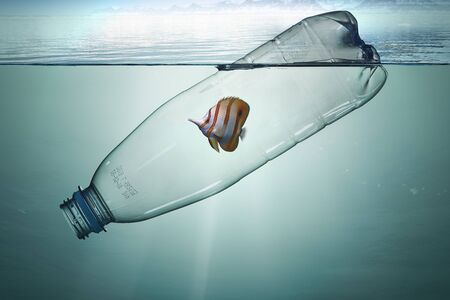 Plastic bottle with fish, pollution that floats in the ocean.