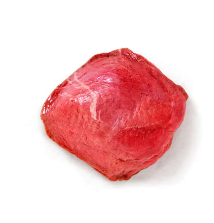 Raw steak in a studio setting, isolated on white.