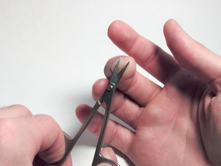 nail scissors: nail scissors, cutting nails, mans hand