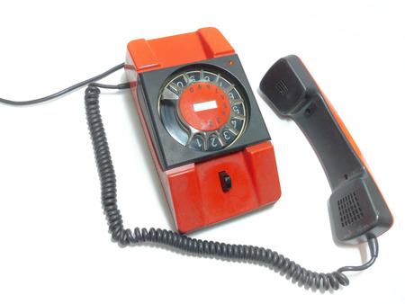 old fashioned rotary phone: old rotary phone. Its off the hook Stock Photo