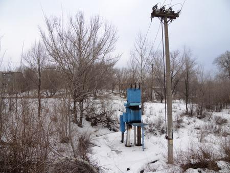 transformer vault blue. Snow is all around