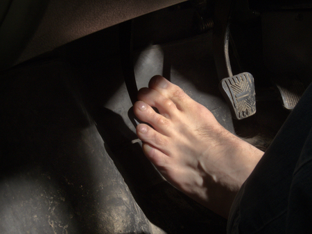 foot on the clutch pedal
