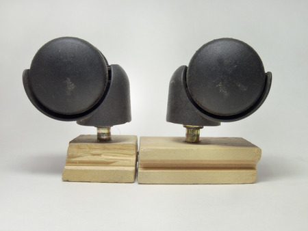 unattached: Two mounted castors for furniture