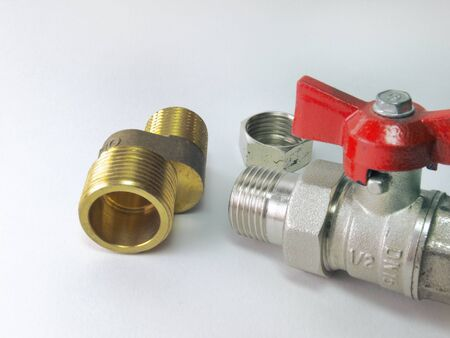 threaded: Ball valve, faucet eccentric and connection of threaded fittings. Close-up