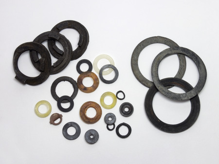 Samples of the seal gaskets for plumbing Stock Photo