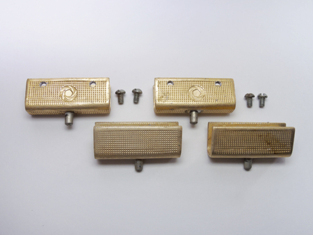 hinge: The glass door pivot hinge from sideboard. Elegant vintage, textured and with gilded Stock Photo