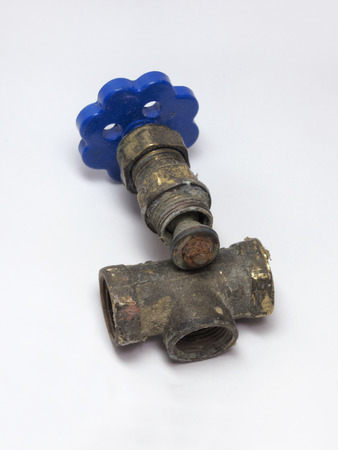 disassembled: Rusty disassembled valve for plumbing