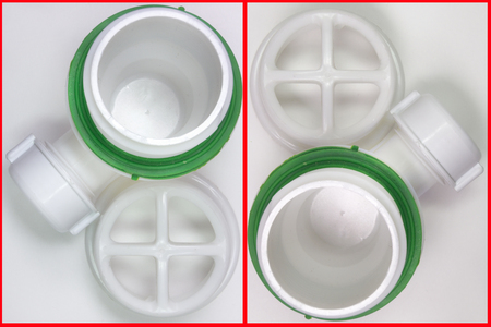 sink drain: Pair of plastic strainer for drain for hole of the sink. A fragment of the drain system