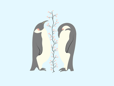 Two lovers penguin and tree of hearts Vetores