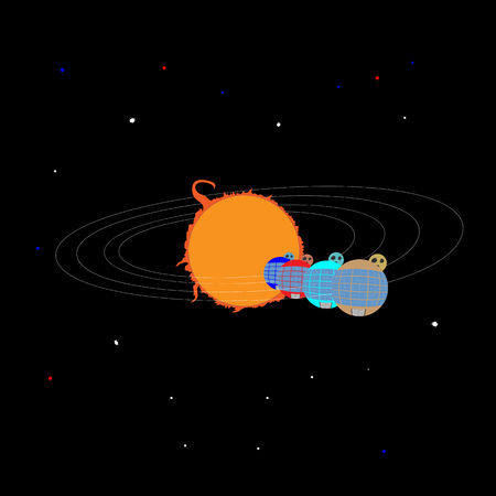 planets in the form of round houses, in orbit around the Sun
