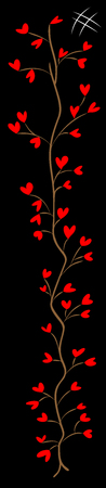 tree of many hearts and the numbering sign on black field