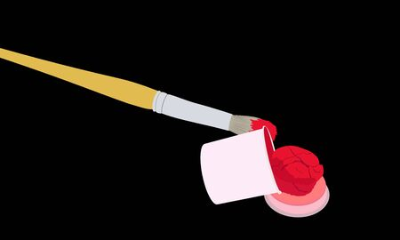The brush in the red paint and an open tin of paint on black background Illustration