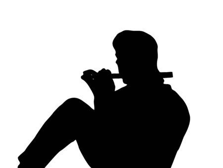 seated man: La silueta de un hombre sentado tocando una flauta