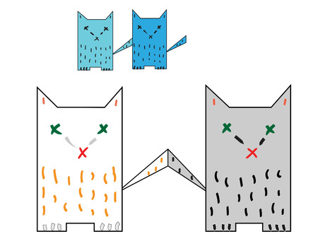 tails: four colorful cat, their tails are touching