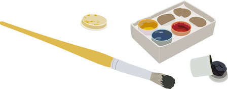 The set of gouache paints in a box, and a brush Vetores
