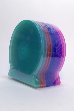 pack of single cases for cd storing. color shells - high quality clear plastic boxes; with clipping path
