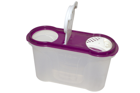 Plastic airtight container for food storaging, with the dispenser for groats and cereal. isolated on white background with clipping path