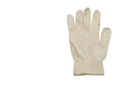 white glove without warming, for manual works, thin fabric of woven strings (fine yarn). isolated on white background, with clipping path