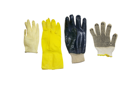 assorted protective gloves of rubber and cloth materials, for household, gardening and cleaning, isolated on white, with clipping path