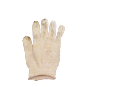 white dirty glove without warming, for manual works, thin fabric of woven strings (fine yarn). isolated on white background with clipping path