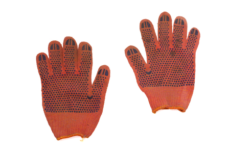 orange protective gloves pair. covered from the working side by blue rubber anti-skid dots. isolated, clipping path Stock fotó
