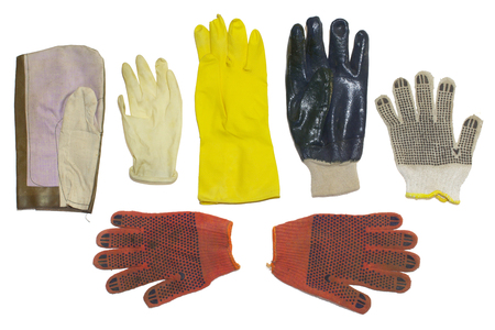 protective gloves. multiple types, rubber and cloth materials. for household, gardening and cleaning, hazardous, medical and manual works isolated on white background, with clipping path