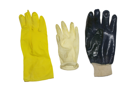 Protective gloves for household, gardening and cleaning. Set of isolation for hands when work with caustic substance, with clipping path Stock fotó