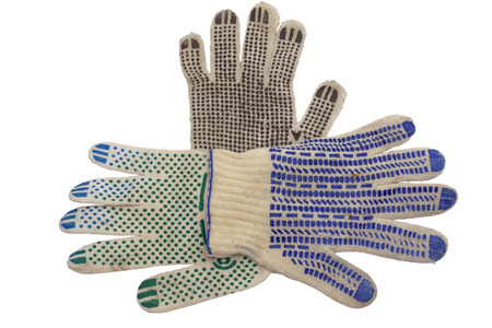 knitted gloves for manual labor. anti-skid covering, made of colored rubber dots, neatly laid out and isolated on white background, with clipping path
