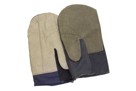 Pair of cotton gloves with thumb. protection of hands against accidental damage during heavy grip work with steel cables, rebar and pipes. with clipping path