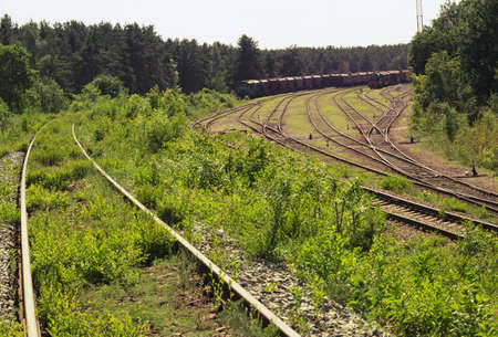 railway siding overgrown with grass. shunting electric locomotive and coupling of goods wagons on different tracks of railway goods station tracks intersection. interlaced set of points with manual control